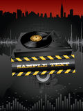 Turntable background. Vector grunge background with turntable and banner Stock Image