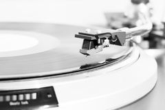 Turntable black vinyl Headshell Cartridge closeup Royalty Free Stock Image