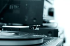 Turntable In Blue Tone Stock Photography