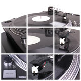 Turntable collage. Closeup parts of turntable Stock Photography