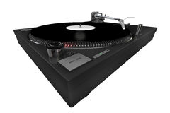 Turntable, dark grey, isolated. A 3d rendered technics-style turntable, playing a white label record, isolated on white background Stock Images
