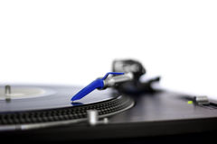 Turntable detail. System head with needle of a classic turntable Royalty Free Stock Images