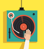 Turntable with dj hands. Vector flat illustration Stock Image