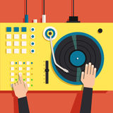Turntable with dj hands. Vector flat illustration Royalty Free Stock Photo