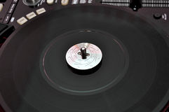 Turntable on dj music deck Stock Images