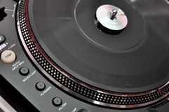 Turntable on dj music deck Stock Photos