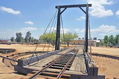 Looking Across Railroad Locomotive Turntable. The turntable enabled railroad yard workers to relocate a locomotive from one track to another. This particular royalty free stock images