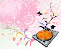 Turntable and flowers Royalty Free Stock Photography