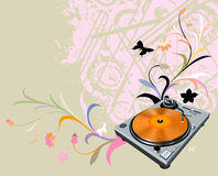 Turntable and flowers Royalty Free Stock Images