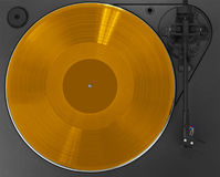 Turntable with golden record Stock Photography