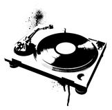Turntable Graffiti. A stencil illustration of a turntable Royalty Free Stock Image