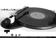 Turntable in gray case rear view isolated Royalty Free Stock Image