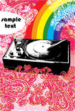 Turntable grunge style. Bright splash Royalty Free Stock Images
