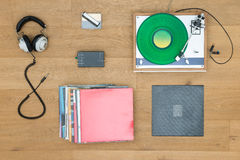 Turntable With Headphones On Table Royalty Free Stock Images