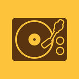 The turntable icon. DJ and melody, music, player symbol. Flat Royalty Free Stock Photo