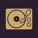 The turntable icon. DJ and melody, music, player symbol. Flat. Vector illustration Royalty Free Stock Photo
