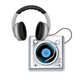 Turntable icons and headphones isolated Stock Photography
