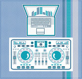 Turntable with Laptop DJ equipment Vector Royalty Free Stock Photos
