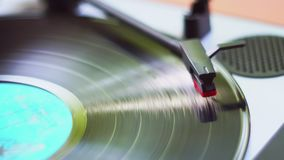 Turntable, Man using vinyl record system with manually. 4K. Turntable, Man using vinyl record system with manually stock footage