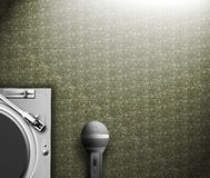 Turntable & microphone. Turntable & microphone on retro wallpaper background Stock Image