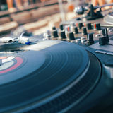 Turntable and mixer closeup Royalty Free Stock Images