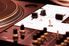 Turntable and mixing controller Royalty Free Stock Images