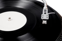 Turntable needle on a white plate Royalty Free Stock Photos