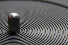 Turntable platter and spindle macro close-up Royalty Free Stock Photo