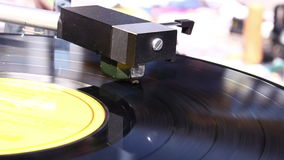 Turntable player. Vinyl rotating on a turntable, close up stock video