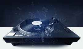 Turntable playing music with hand drawn cross lines Stock Images