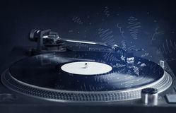 Turntable playing music with hand drawn cross lines Stock Image
