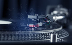 Turntable playing music with hand drawn cross lines Stock Photo