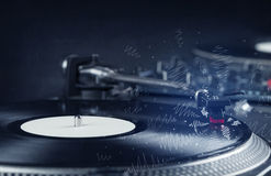 Turntable playing music with hand drawn cross lines Royalty Free Stock Photos