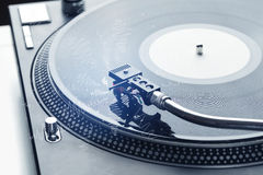 Turntable playing music with hand drawn cross lines Royalty Free Stock Photography