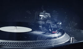 Turntable playing music with hand drawn cross lines Royalty Free Stock Images