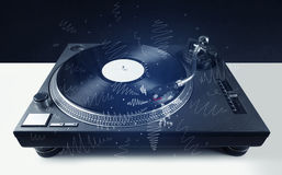 Turntable playing music with hand drawn cross lines Royalty Free Stock Photo