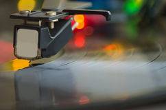 A turntable playing music vinyl record Royalty Free Stock Photography