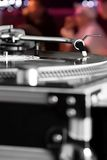 Turntable playing vinyl audio record royalty free stock photo