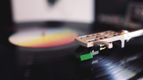 Turntable Playing Vinyl Record Close Up. / Template Concept / Video HD stock footage