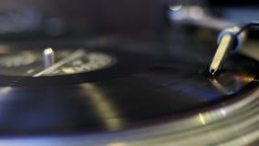 Turntable playing vinyl record. Macro stock footage