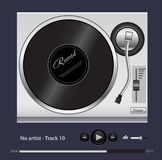 The turntable for playing vinyl records. Vector illustration. stock illustration