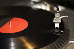 Turntable Record Player. Close-up of an old turntable in motion Royalty Free Stock Image