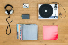 Turntable With Records And Headphones On Table Stock Photo