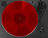 Turntable with red album Royalty Free Stock Photography