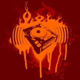 Turntable Red Graffiti. Vector Illustration. No Meshes Royalty Free Stock Image