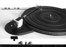Turntable in silver case rear view isolated Royalty Free Stock Photography
