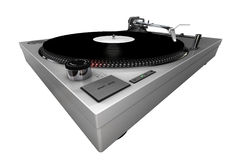 Turntable, silver, isolated royalty free stock image