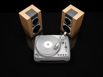 Turntable and speakers Stock Images