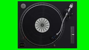 Turntable spinning vinyl records. On green chroma key background stock video