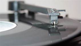 Turntable with stylus running vinyl record stock video